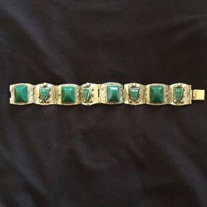 Green Onyx stone bracelet - vintage